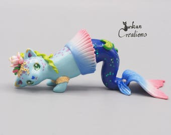 Ooak blue meowmaid, clay sculpture, cat sculpture, polymer clay collectible, kawaii cat figure, mermaid cat, animal totem, gift for women