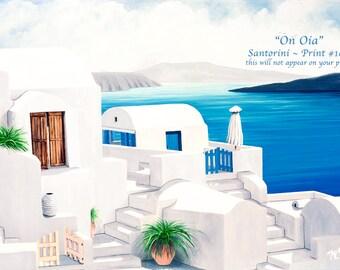 Santorini Standard Size Prints Artist Made Prints Caldera Art Canvas or Paper Oil Painting Prints patios sea gates umbrella Rustic wood door