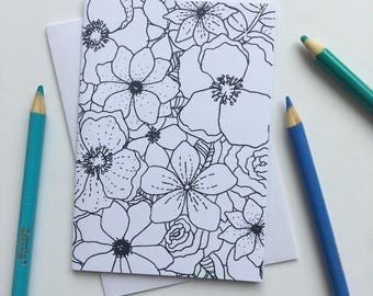 Flower Coloring Greeting Card, Colorable Greeting Card, Flower Greeting Card, Coloring Page, Coloring Card, Flower Card, Blank Greeting Card