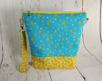 Medium Knitting Project Bag, Bees & Honey, Medium Zippered Wedge Bag, Zipper Bag, Shawl Project Bag WM0028