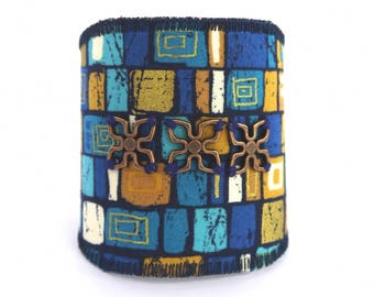 Blue fabric textile cuff Makower copper jean flowers bracelet