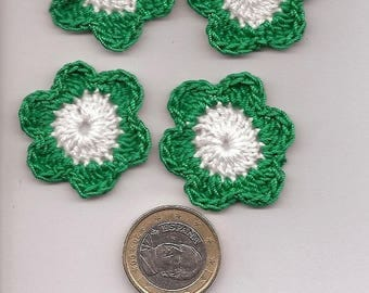 SET of 10 SCRAPBOOKING cotton green and white CROCHET flowers