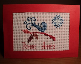 Happy new year card embroidered cross stitch: Blue Bird on a branch
