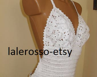 Crochet long white wedding  dress   36-38EU
