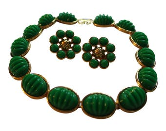 Vintage Monet Gold Jade Necklace And Earrings Set Mad Men Style