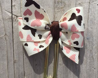 Pastel Pink and Brown Butterflies and Hearts Bow Planner Clip