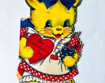 Vintage Hallmark kitten Valentines card