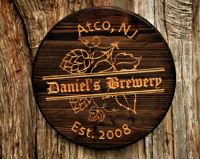 Personalized Bar Sign Barrel Decor Guy Gift Beer Barrel Sign Craft Beer Gift Boyfriend Gift Bar Name Beer Brewing Man Cave Tavern Name Sign
