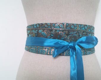 Turquoise and black embroided silk Japanese Obi belt / reversible belt of silk and blue satin / silk underbust / women belt