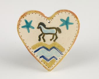 Horse Heart Ornaments, Western Horse, Handmade Ceramic Valentines by Clay Artist, Karlene Voepel.  Sold Individually.