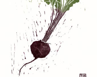 Beetroot woodblock print, woodcut, Japanese, hand pulled print, nature, printmaking, vegetable, leaves, kitchen wall art,  allotment