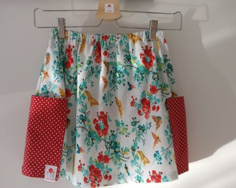 Girls Floral Skirt, with Two Large Red Spotted Pockets, Age 6-7 Years