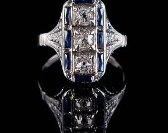 Vintage 1910s Platinum / 14k White Gold Diamond & Sapphire Engagement Ring .69ctw