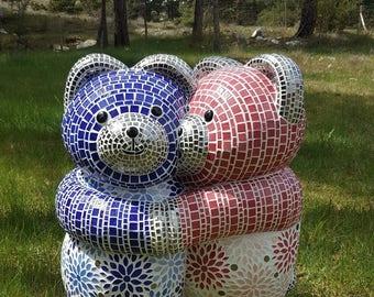 Bear soft sculpture mosaic polyester resin