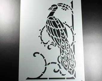 Template Bird Peacock with ornament-BE70