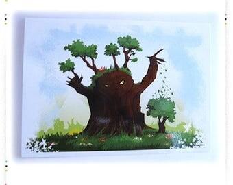 "Map postcard illustration ""Tree"""