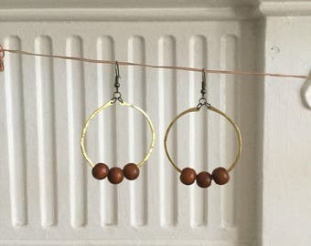 Circle Earrings with Wooden Beads