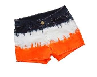 Orange + Black Tie-Dye Shorts