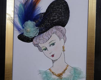 """Cardboard table feather """"Black Hat Lady"""""""
