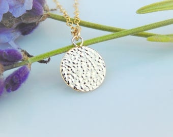 Simple Necklace - 14k Gold Filled - Tiny Disc - Gold Necklace -Everyday Necklace - Dainty Necklace - Minimalist Gold Necklace
