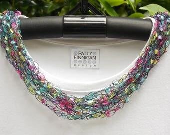 Crochet Ladder Yarn Necklace, Perennial Border