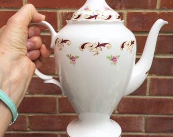 SALE - Crown Staffordshire  Bone China Large Coffee Pot - Wentworth