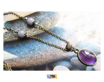 """Necklace «Healing and Protection» - """"Purple jade beads and Cabochon Amethyst"""" on antique bronze brass"""