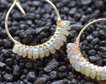 Gold Opal Hoops, Classic Gold Hoops Ethiopian Opal Earrings Gold Hoop Earrings Ethiopian Welo Opals Simple Opal Hoops Opal Hoop Earrings