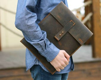 iPad Pro 12.9 Sleeve, Handmade iPad 9.7 Cover, Leather iPad Carrying Case with Extra Pocket, MONOGRAM
