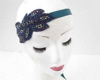 Teal Blue Beaded Headband Headpiece Vintage 1920s Great Gatsby Flapper 30s 4931