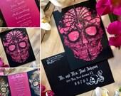 Day of the Dead Skull laser cut wedding invitation Detailed flowers dia de los muertos party