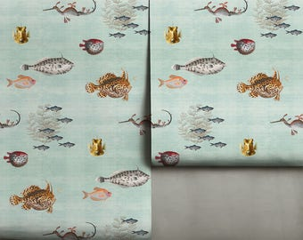 Curious Fish Removable // Neutral Green Peel 'n Stick Wallpaper