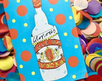 Glorious Glens Comical Greetings Card, Vodka Alcohol Quirky Fun Card, Illustrated Boozy Card