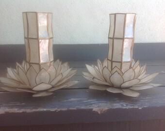 Capiz Shell Lotus and Hurricane Candle Holder Vintage