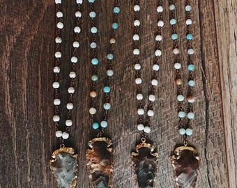 Rosary Chain Arrowhead Necklace