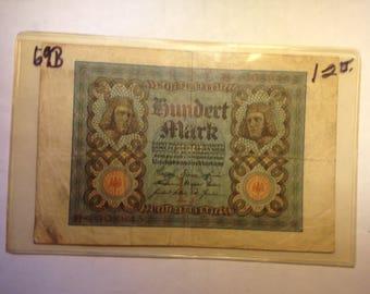 1920 Hundert Mark Weimar German Banknote