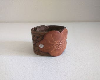 Leather cuff eco boho chic wide flower tooled leather adjustable silver studs Medium brown