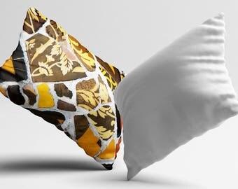 Tile Pillow Cover Morocco Cushion Cover Yellow Brown PillowCase Modern Throw Pillow Cover Geometric Silk Pillow Satin Luxury Decor Her Gift