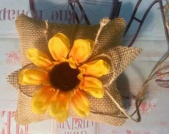 Burlap ring bearer pillow with silk sun flower