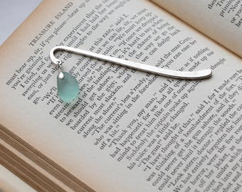 Sea Glass bookmark with aqua sea glass - Perfect for someone who loves the ocean!