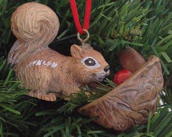 Squirrel ornament with walnut half  | Christmas  Ornament | nature ornaments | woodland
