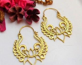 Hoop Earrings - Brass Earrings Nickel free - Boho earrings - Lotus earrings