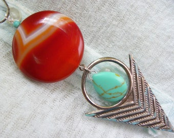 Big gemstone necklace, unique gemstone necklace, distressed necklace, agate and turquoise necklace, orange agate necklace, rustic gemstone