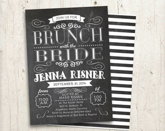 Brunch with the Bride Invitation, bridal brunch invite, chalkboard style brunch with the bride invitation