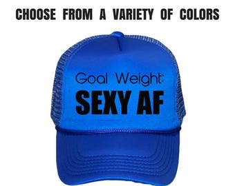 Women's Fitness Trucker Hat. Gym Hat. Workout Cap. Exercise Hat. Ladies Gym Baseball Cap. Goal Weight.