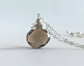 Boho Necklace Ideas - Smoky Quartz Necklace  - Smokey Quartz Jewelry - Boho Necklace for Woman - Sterling Silver