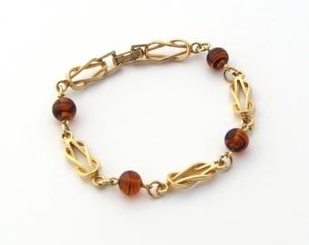 Avon Bracelet Tortelle | Gold Knot Bracelet | Amber Bead Bracelet | Faux Tortoise Shell | Gold Link Bracelet | Never Worn | 1970s Style