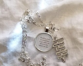 Reading Gives Us Someplace to Go When We Have to Stay Where We Are Necklace, Sign Post Necklace, Book Lover, Ready to Ship, MarjorieMae