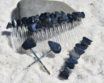 Dumortierite Stone Hair Clip Set - Includes 2 Hair Combs, 1 60 mm French Barrette, 2 Hair Pins