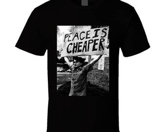 Peace Is Cheaper Vintage Distressed Cool Protest End War Violence Graphic T Shirt